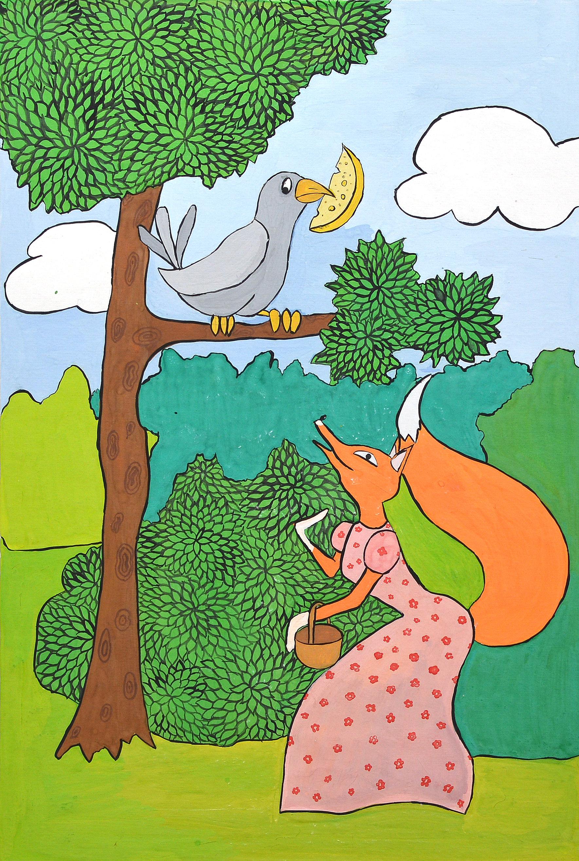 Иллюстрация к сказке ворона и лисица картинки